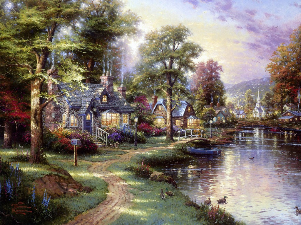 famous paintings of thomas kinkade an american painter artsofshyrgil. Black Bedroom Furniture Sets. Home Design Ideas