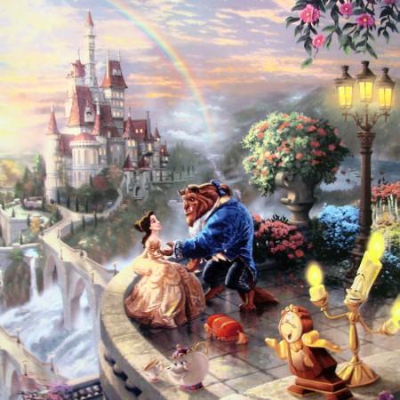 Beauty And The Beast 450x450 Thomas Kinkade Disney Paintings